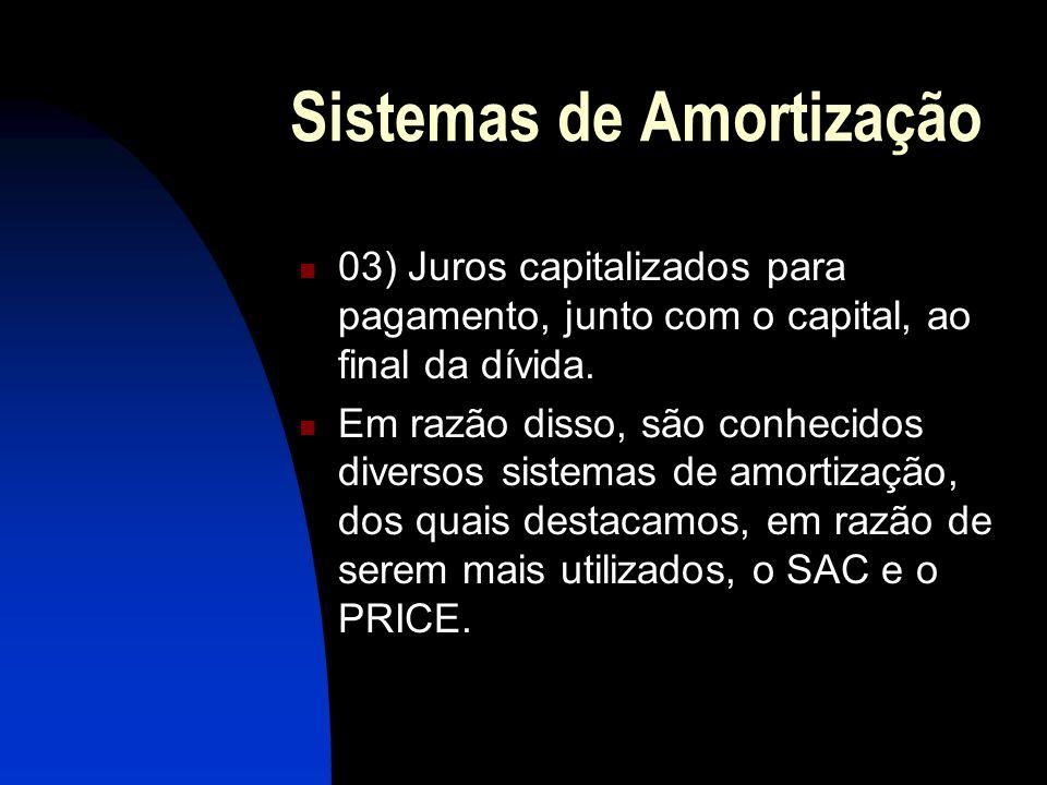 Sistemas de Amortização 03) Juros capitalizados para pagamento, junto com o capital, ao final da dívida.