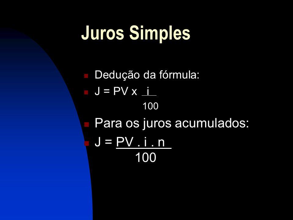Juros Simples Dedução da fórmula: J = PV x i 100 Para os juros acumulados: J = PV. i. n 100