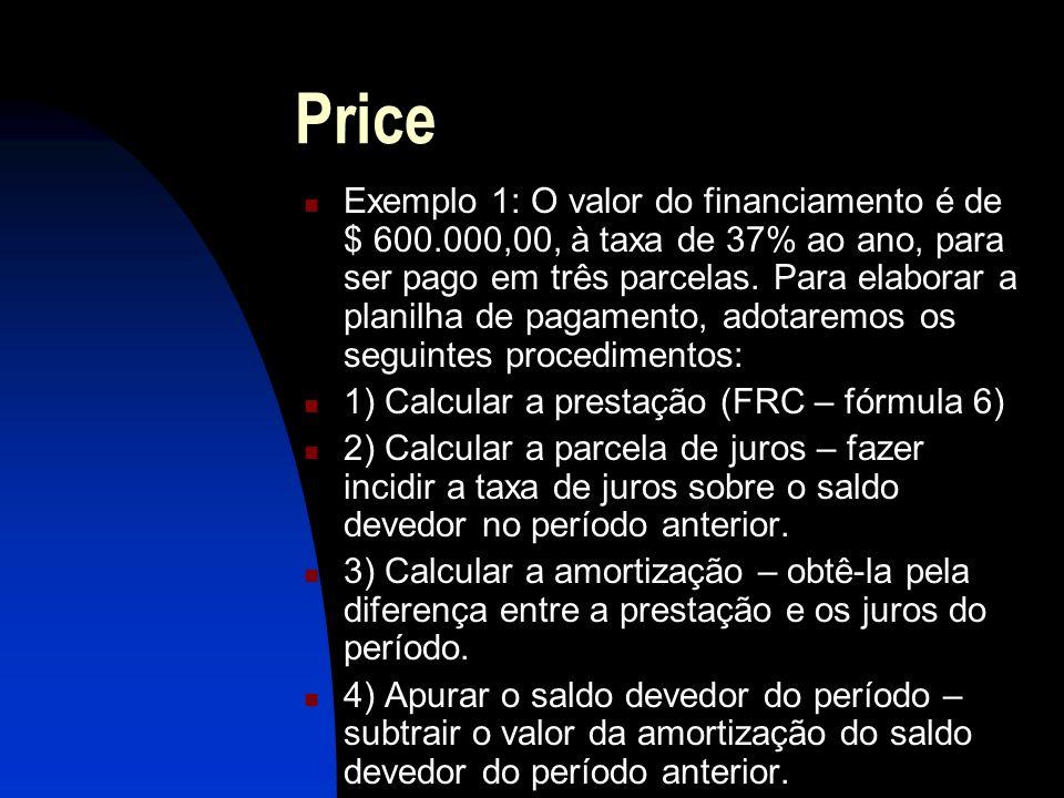 Price Exemplo 1: O valor do financiamento é de $ 600.000,00, à taxa de 37% ao ano, para ser pago em três parcelas.