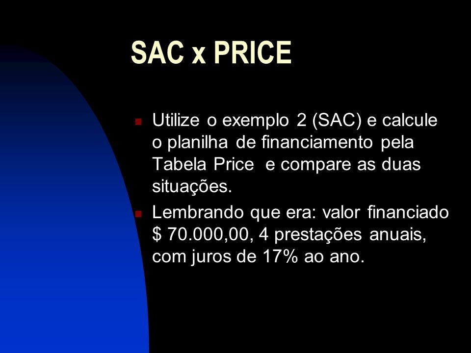 SAC x PRICE Utilize o exemplo 2 (SAC) e calcule o planilha de financiamento pela Tabela Price e compare as duas situações.