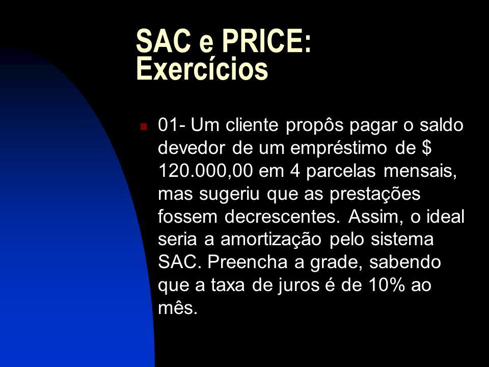 SAC e PRICE: Exercícios 01- Um cliente propôs pagar o saldo devedor de um empréstimo de $ 120.000,00 em 4 parcelas mensais, mas sugeriu que as prestações fossem decrescentes.
