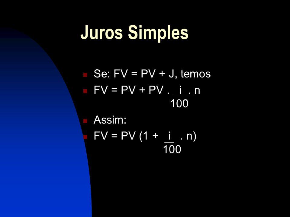 Juros Simples Se: FV = PV + J, temos FV = PV + PV. i. n 100 Assim: FV = PV (1 + i. n) 100