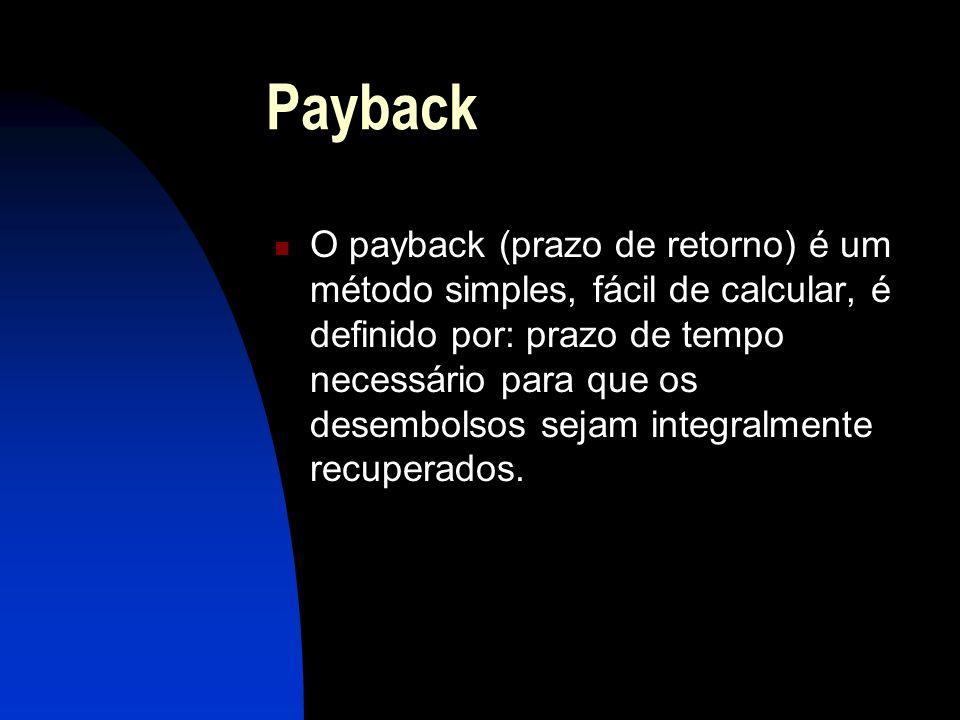 Payback O payback (prazo de retorno) é um método simples, fácil de calcular, é definido por: prazo de tempo necessário para que os desembolsos sejam integralmente recuperados.