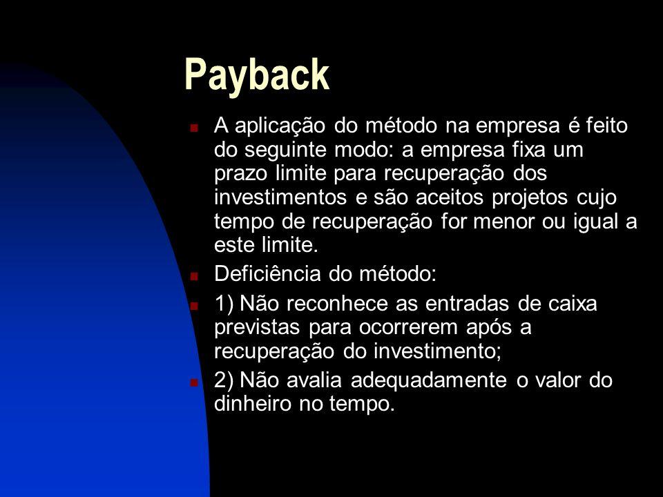 Payback A aplicação do método na empresa é feito do seguinte modo: a empresa fixa um prazo limite para recuperação dos investimentos e são aceitos projetos cujo tempo de recuperação for menor ou igual a este limite.