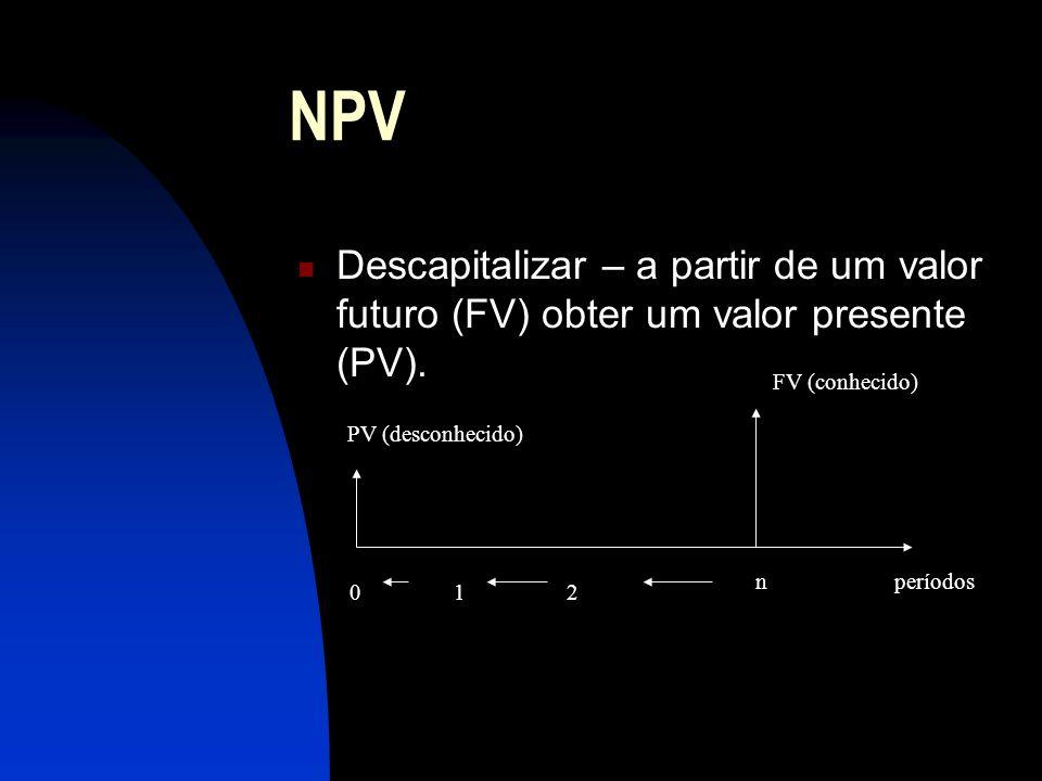 NPV Descapitalizar – a partir de um valor futuro (FV) obter um valor presente (PV).