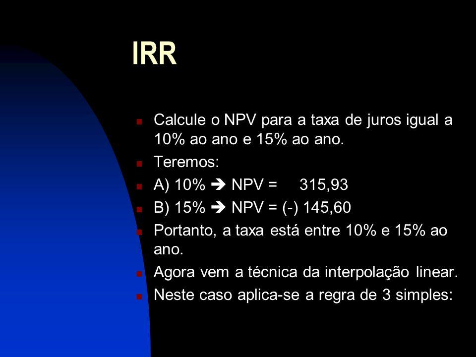 Calcule o NPV para a taxa de juros igual a 10% ao ano e 15% ao ano.