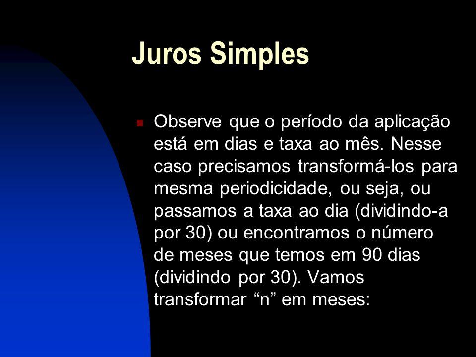 Juros Simples Observe que o período da aplicação está em dias e taxa ao mês.