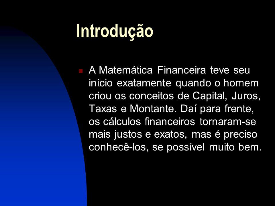Introdução A Matemática Financeira teve seu início exatamente quando o homem criou os conceitos de Capital, Juros, Taxas e Montante.