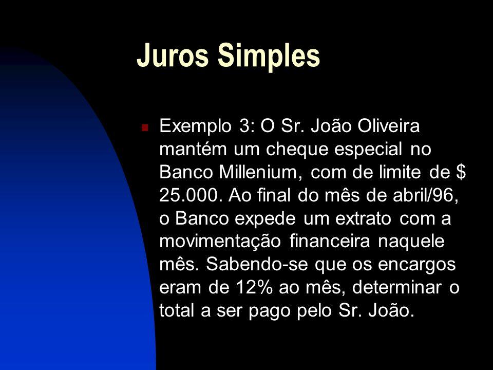 Juros Simples Exemplo 3: O Sr.
