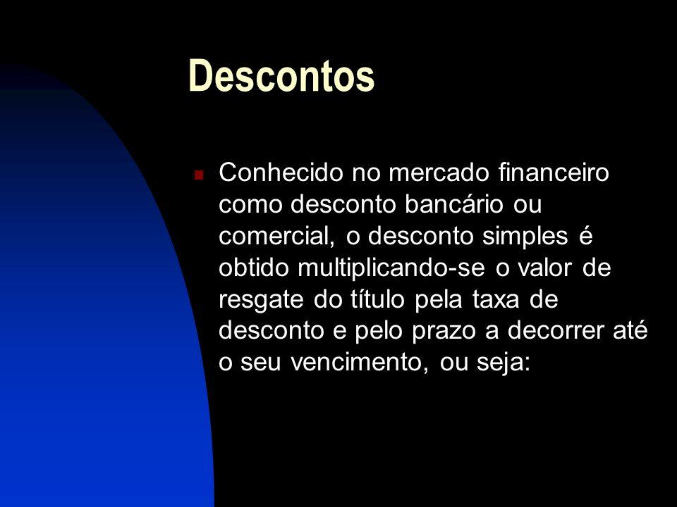 Descontos Conhecido no mercado financeiro como desconto bancário ou comercial, o desconto simples é obtido multiplicando-se o valor de resgate do título pela taxa de desconto e pelo prazo a decorrer até o seu vencimento, ou seja: