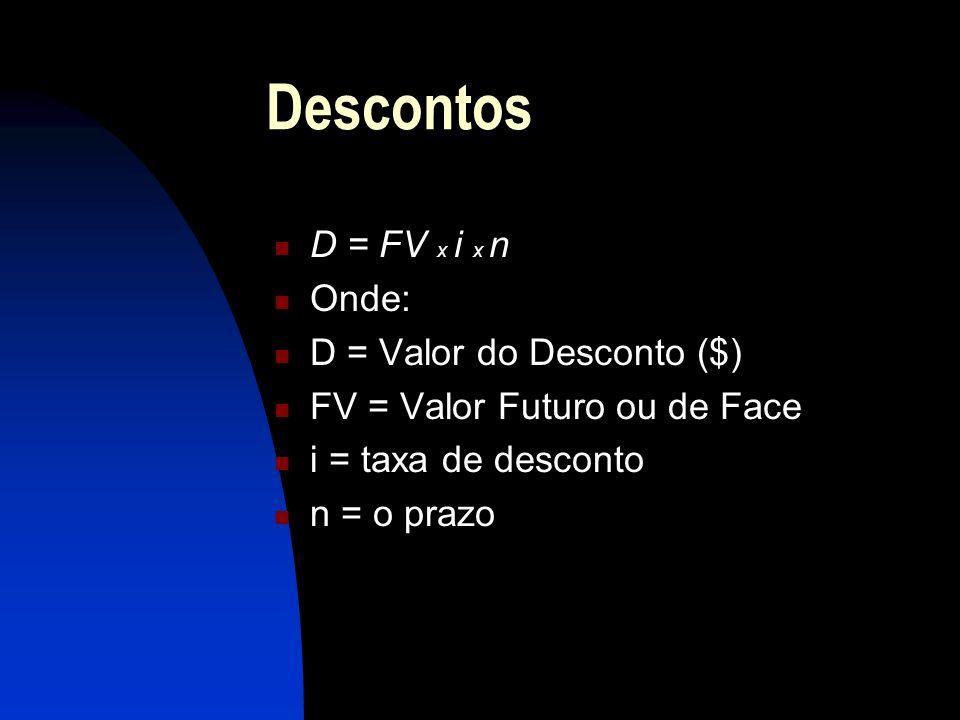 Descontos D = FV x i x n Onde: D = Valor do Desconto ($) FV = Valor Futuro ou de Face i = taxa de desconto n = o prazo