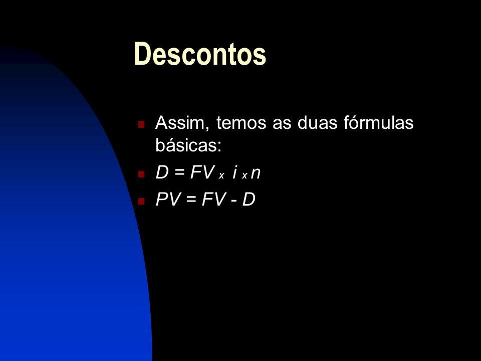 Descontos Assim, temos as duas fórmulas básicas: D = FV x i x n PV = FV - D