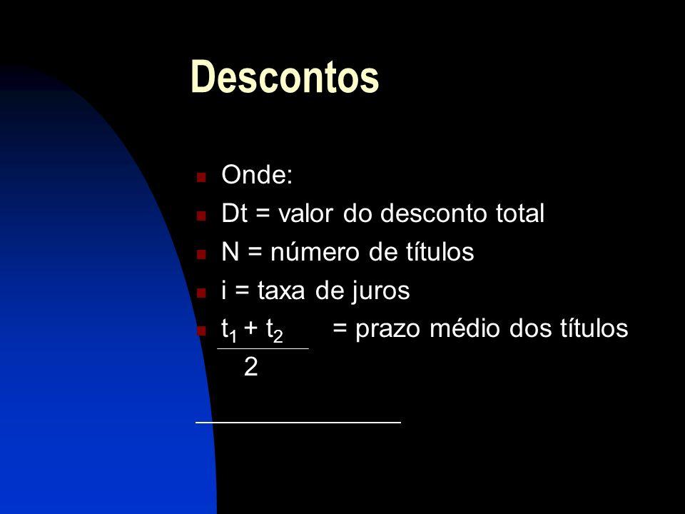 Descontos Onde: Dt = valor do desconto total N = número de títulos i = taxa de juros t 1 + t 2 = prazo médio dos títulos 2