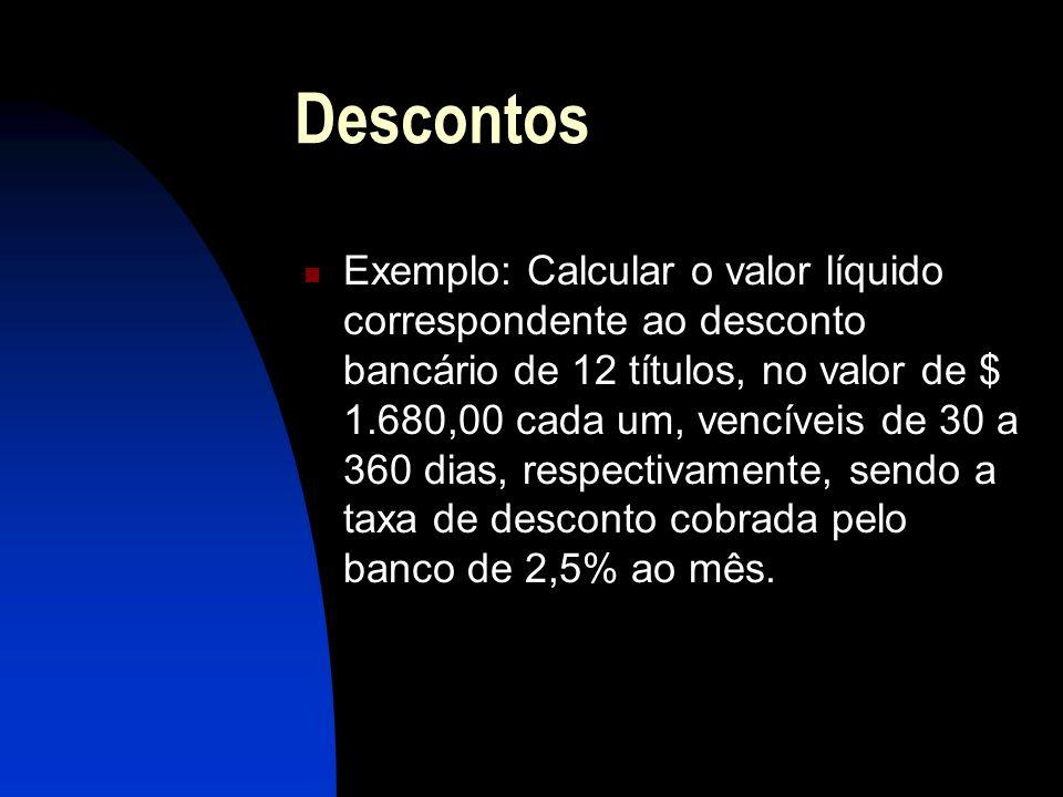 Descontos Exemplo: Calcular o valor líquido correspondente ao desconto bancário de 12 títulos, no valor de $ 1.680,00 cada um, vencíveis de 30 a 360 dias, respectivamente, sendo a taxa de desconto cobrada pelo banco de 2,5% ao mês.
