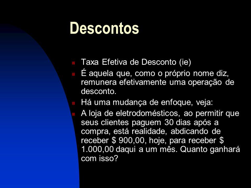 Descontos Taxa Efetiva de Desconto (ie) É aquela que, como o próprio nome diz, remunera efetivamente uma operação de desconto.