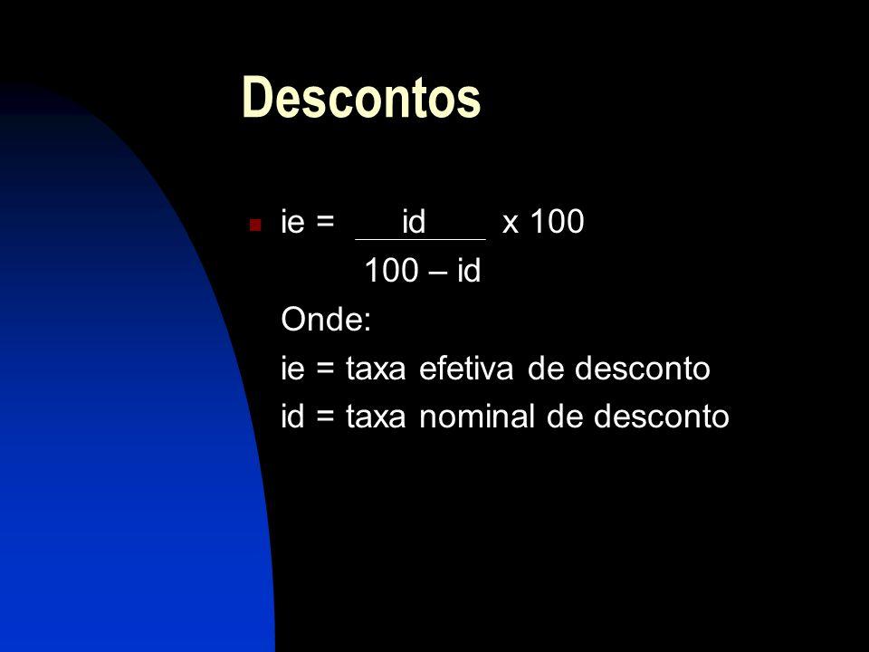 Descontos ie = id x 100 100 – id Onde: ie = taxa efetiva de desconto id = taxa nominal de desconto
