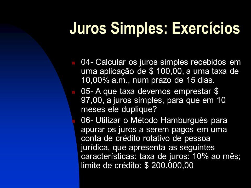 Juros Simples: Exercícios 04- Calcular os juros simples recebidos em uma aplicação de $ 100,00, a uma taxa de 10,00% a.m., num prazo de 15 dias.