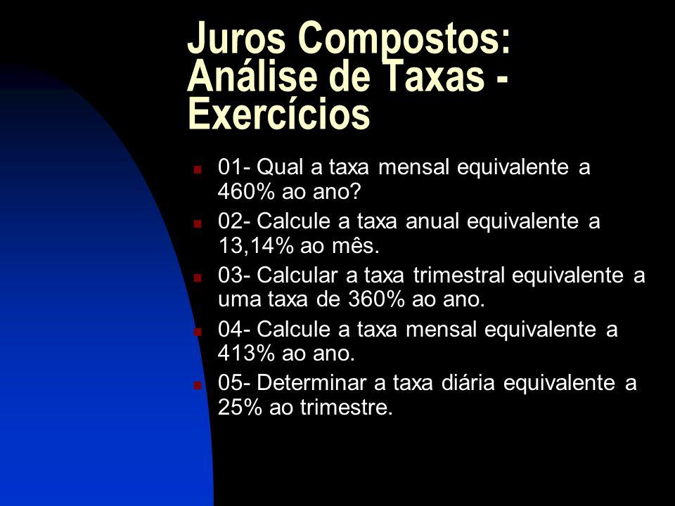 Juros Compostos: Análise de Taxas - Exercícios 01- Qual a taxa mensal equivalente a 460% ao ano.