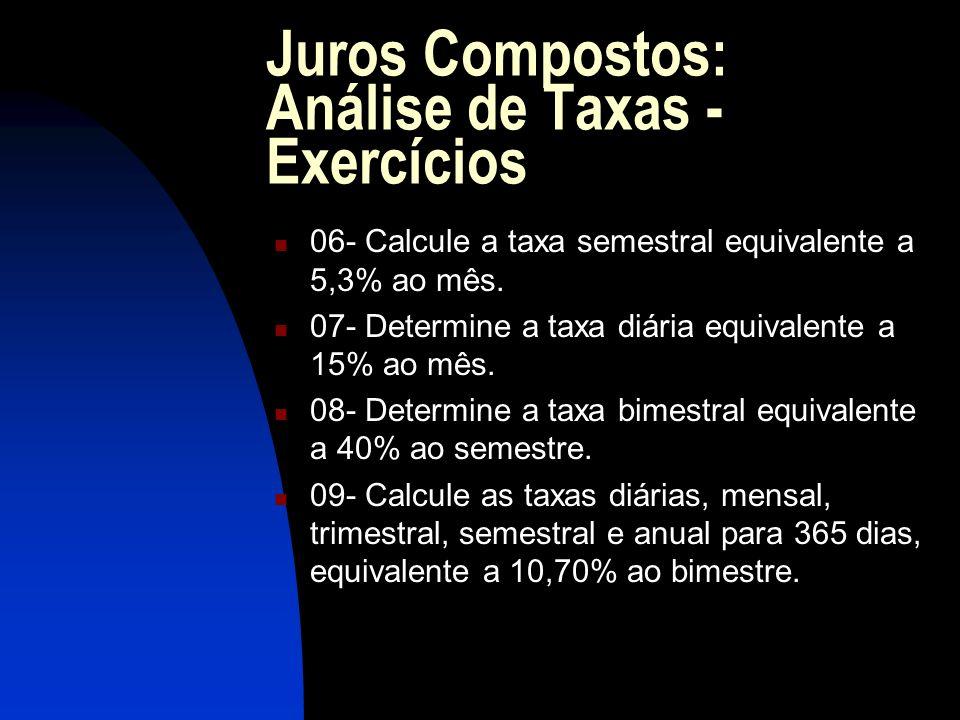 Juros Compostos: Análise de Taxas - Exercícios 06- Calcule a taxa semestral equivalente a 5,3% ao mês.