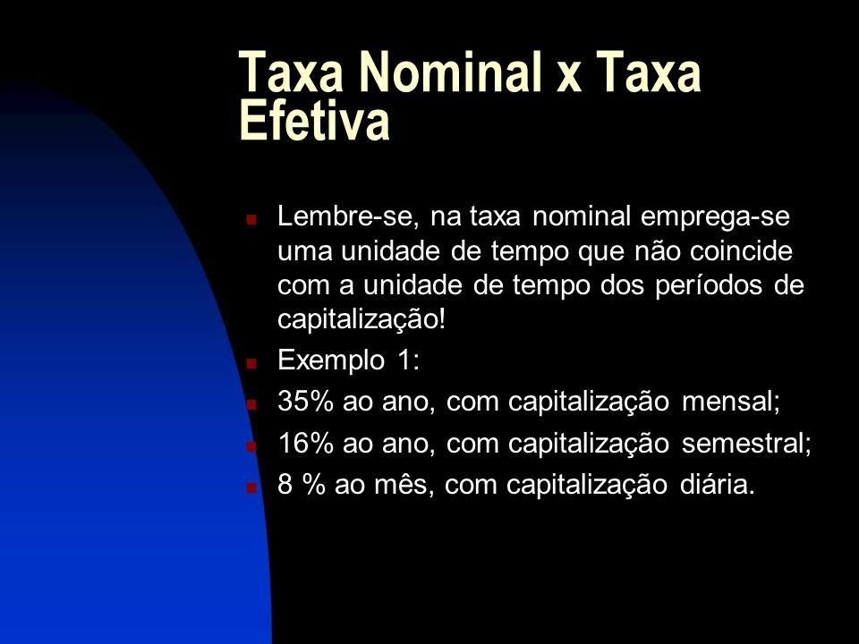 Taxa Nominal x Taxa Efetiva Lembre-se, na taxa nominal emprega-se uma unidade de tempo que não coincide com a unidade de tempo dos períodos de capitalização.