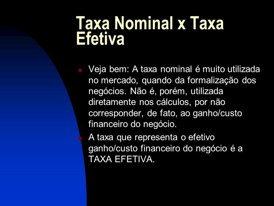 Taxa Nominal x Taxa Efetiva Veja bem: A taxa nominal é muito utilizada no mercado, quando da formalização dos negócios.