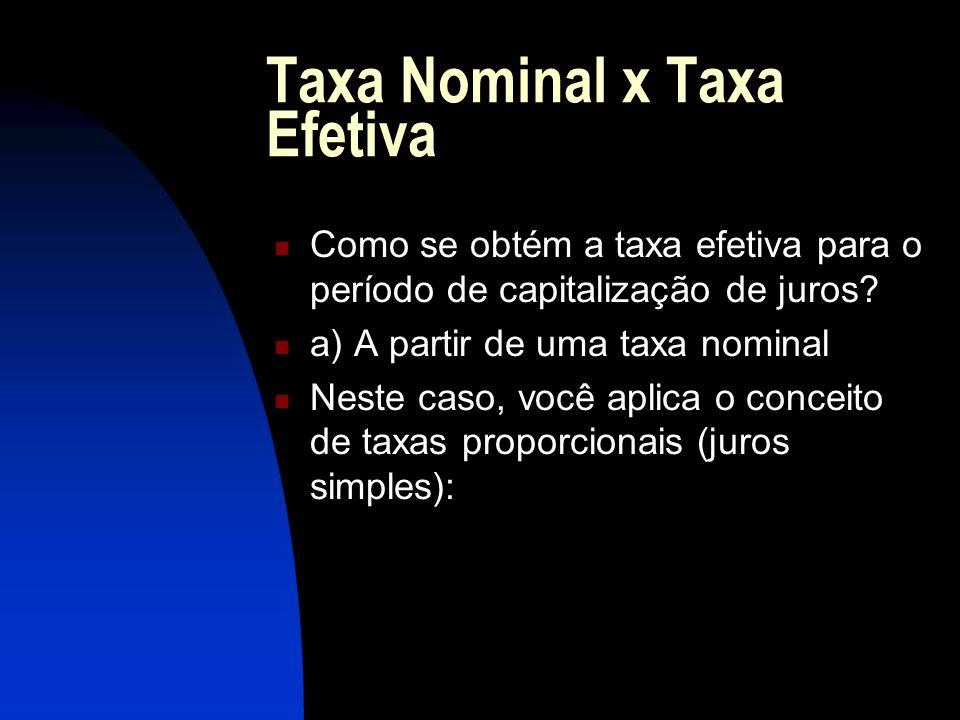 Taxa Nominal x Taxa Efetiva Como se obtém a taxa efetiva para o período de capitalização de juros.