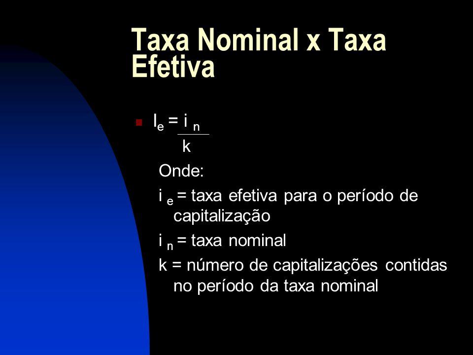 Taxa Nominal x Taxa Efetiva I e = i n k Onde: i e = taxa efetiva para o período de capitalização i n = taxa nominal k = número de capitalizações contidas no período da taxa nominal