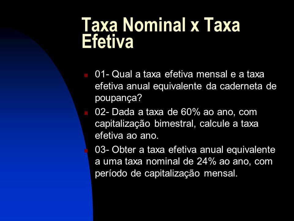 Taxa Nominal x Taxa Efetiva 01- Qual a taxa efetiva mensal e a taxa efetiva anual equivalente da caderneta de poupança.
