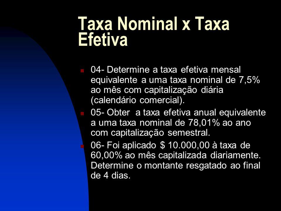 Taxa Nominal x Taxa Efetiva 04- Determine a taxa efetiva mensal equivalente a uma taxa nominal de 7,5% ao mês com capitalização diária (calendário comercial).