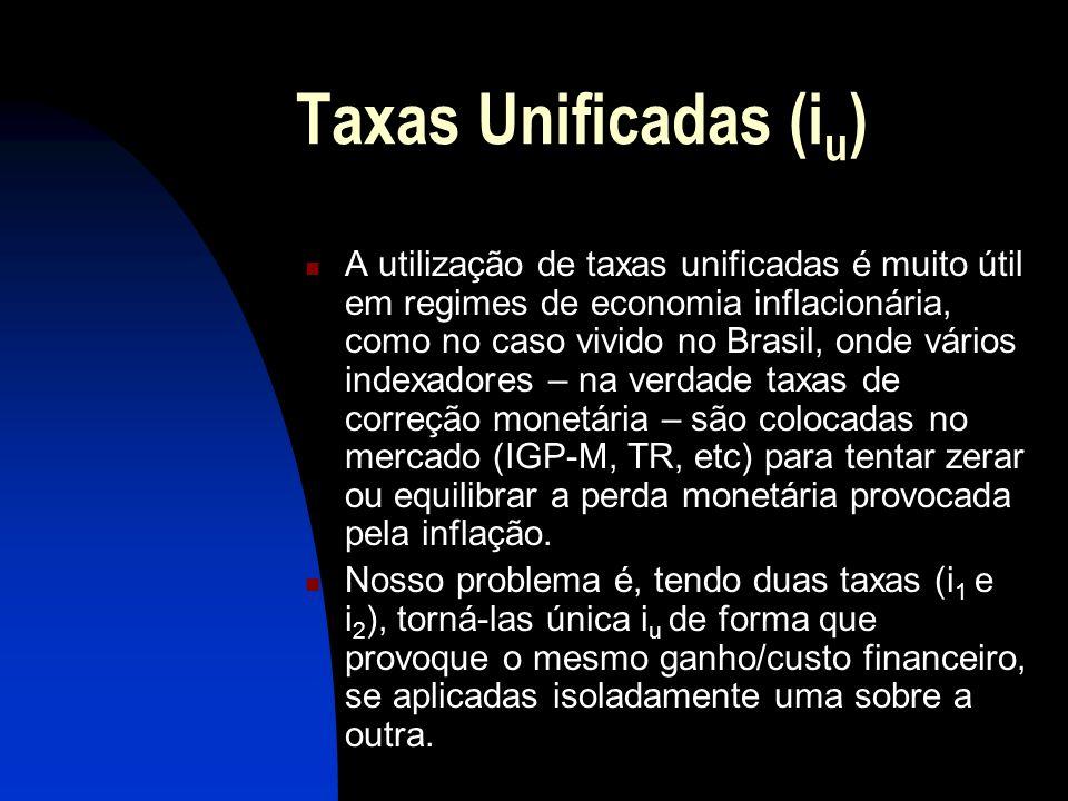 Taxas Unificadas (i u ) A utilização de taxas unificadas é muito útil em regimes de economia inflacionária, como no caso vivido no Brasil, onde vários indexadores – na verdade taxas de correção monetária – são colocadas no mercado (IGP-M, TR, etc) para tentar zerar ou equilibrar a perda monetária provocada pela inflação.