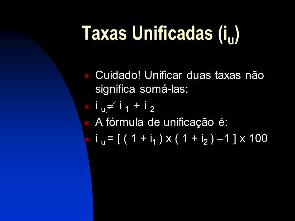 Taxas Unificadas (i u ) Cuidado.