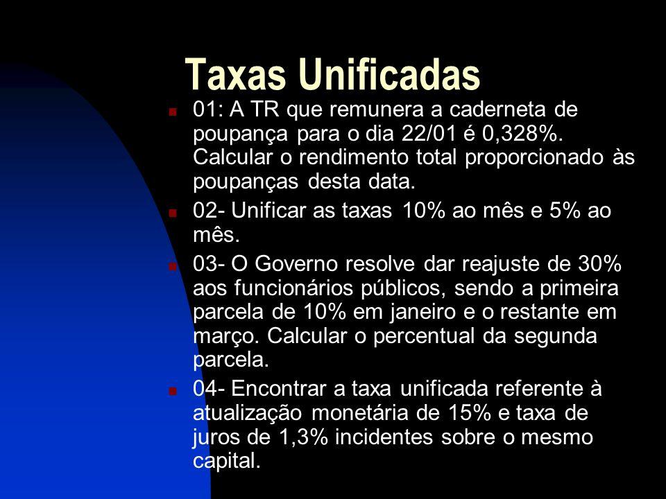 Taxas Unificadas 01: A TR que remunera a caderneta de poupança para o dia 22/01 é 0,328%.