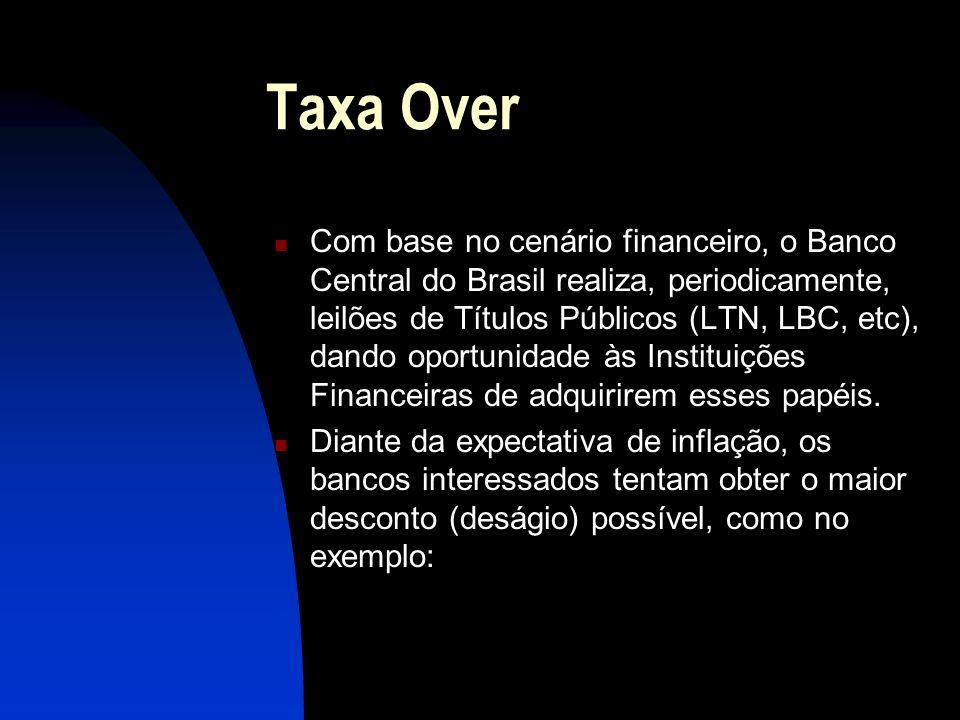 Taxa Over Com base no cenário financeiro, o Banco Central do Brasil realiza, periodicamente, leilões de Títulos Públicos (LTN, LBC, etc), dando oportunidade às Instituições Financeiras de adquirirem esses papéis.