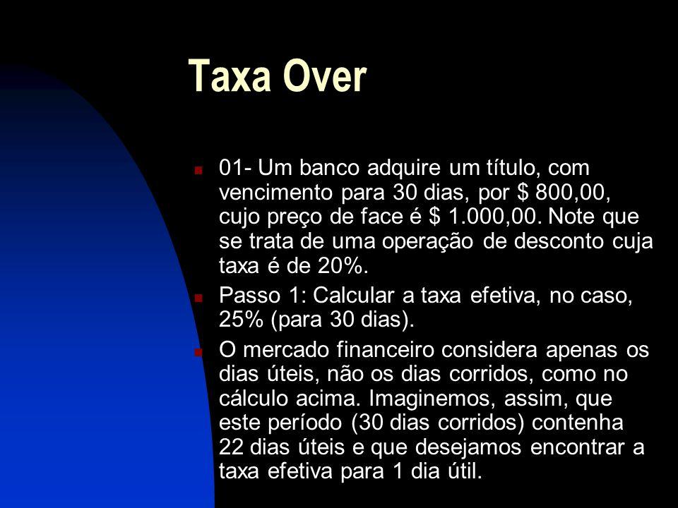 Taxa Over 01- Um banco adquire um título, com vencimento para 30 dias, por $ 800,00, cujo preço de face é $ 1.000,00.