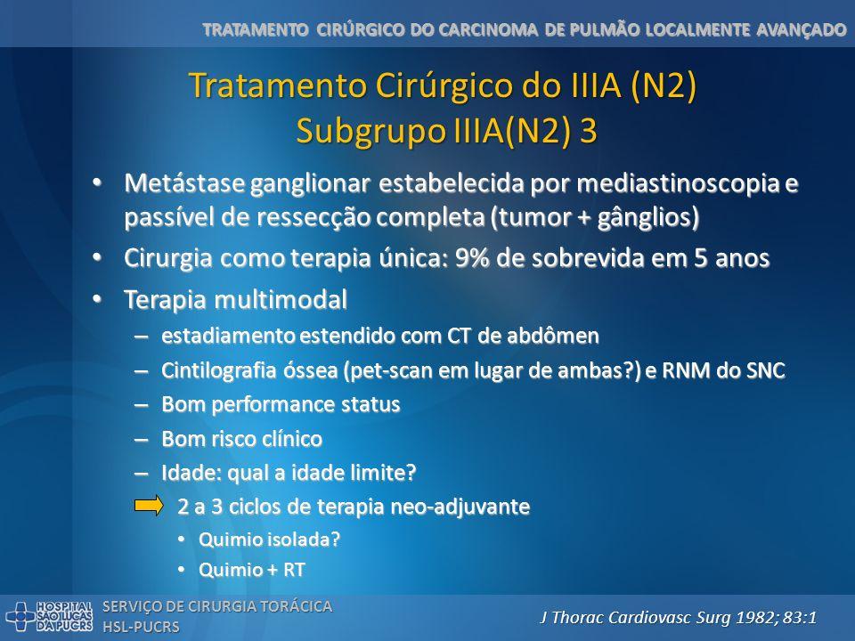 TRATAMENTO CIRÚRGICO DO CARCINOMA DE PULMÃO LOCALMENTE AVANÇADO SERVIÇO DE CIRURGIA TORÁCICA HSL-PUCRS Tratamento Cirúrgico do IIIA (N2) Subgrupo IIIA