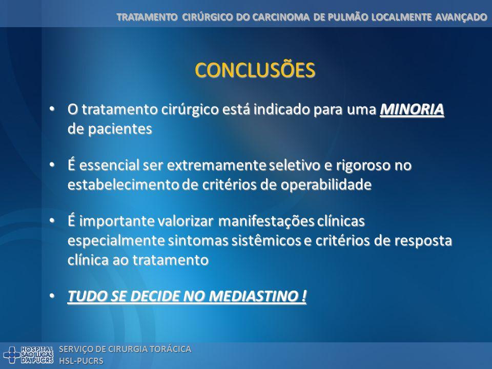 TRATAMENTO CIRÚRGICO DO CARCINOMA DE PULMÃO LOCALMENTE AVANÇADO SERVIÇO DE CIRURGIA TORÁCICA HSL-PUCRS CONCLUSÕES O tratamento cirúrgico está indicado