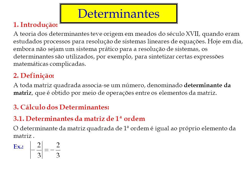 Matriz de Vandermonde Chamamos matriz de Vandermonde, ou das potências, toda matriz de ordem n 2, em que suas colunas são potências de mesma base, com expoente inteiro, variando de 0 à n – 1 (os elementos de cada coluna formam uma progressão geométrica de primeiro termo igual a 1).