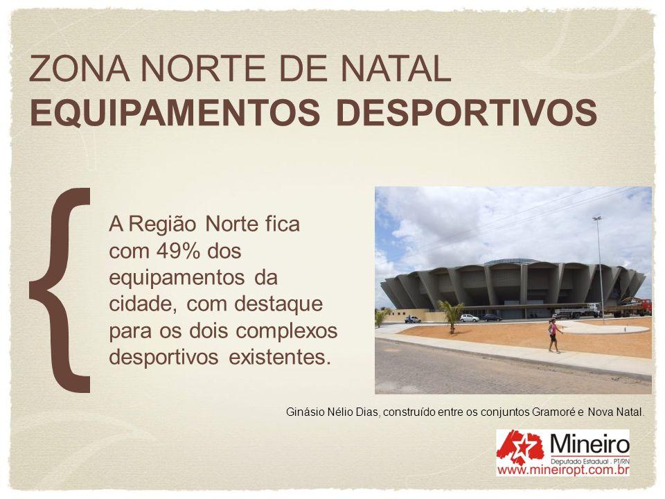 ZONA NORTE DE NATAL EQUIPAMENTOS DESPORTIVOS A Região Norte fica com 49% dos equipamentos da cidade, com destaque para os dois complexos desportivos e