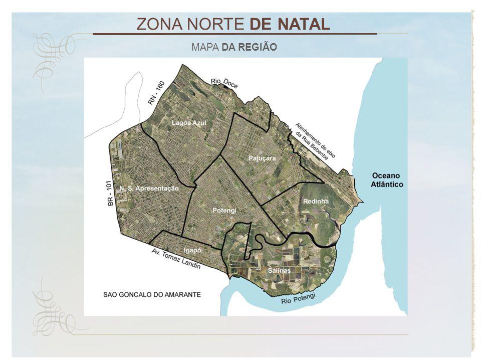 ZONA NORTE DE NATAL POPULAÇÃO DA CIDADE ESPECIFICAÇÃOCENSO 1980 CENSO 1991 CENSO 2000 CENSO 2010 População Zona Norte40.479146.822244.743303.453 População Zona Sul92.415145.274155.882166.491 População Zona Leste142.663128.772116.106112.725 População Zona Oeste141.474185.906195.584218.405 Fonte: IBGE