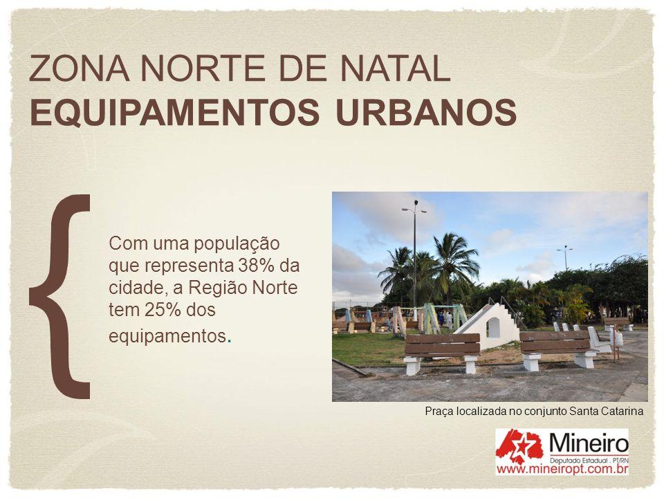 ZONA NORTE DE NATAL EQUIPAMENTOS URBANOS Com uma população que representa 38% da cidade, a Região Norte tem 25% dos equipamentos. Praça localizada no