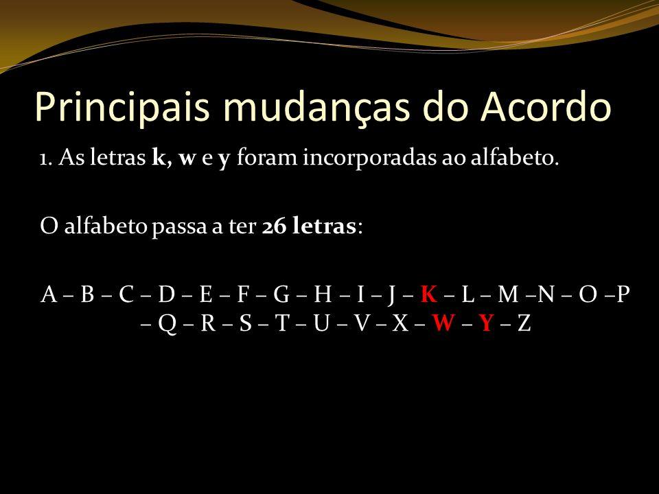 Principais mudanças do Acordo 1. As letras k, w e y foram incorporadas ao alfabeto. O alfabeto passa a ter 26 letras: A – B – C – D – E – F – G – H –