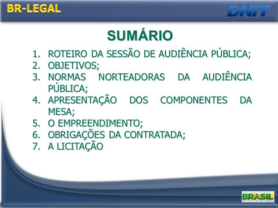 1.ROTEIRO DA SESSÃO DE AUDIÊNCIA PÚBLICA; 2.OBJETIVOS; 3.NORMAS NORTEADORAS DA AUDIÊNCIA PÚBLICA; 4.APRESENTAÇÃO DOS COMPONENTES DA MESA; 5.O EMPREENDIMENTO; 6.OBRIGAÇÕES DA CONTRATADA; 7.A LICITAÇÃO SUMÁRIO