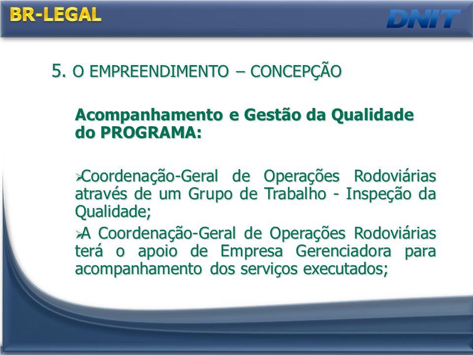 5. O EMPREENDIMENTO – CONCEPÇÃO Acompanhamento e Gestão da Qualidade do PROGRAMA: Coordenação-Geral de Operações Rodoviárias através de um Grupo de Tr