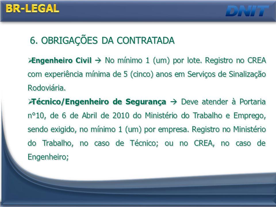 6. OBRIGAÇÕES DA CONTRATADA Engenheiro Civil No mínimo 1 (um) por lote. Registro no CREA com experiência mínima de 5 (cinco) anos em Serviços de Sinal