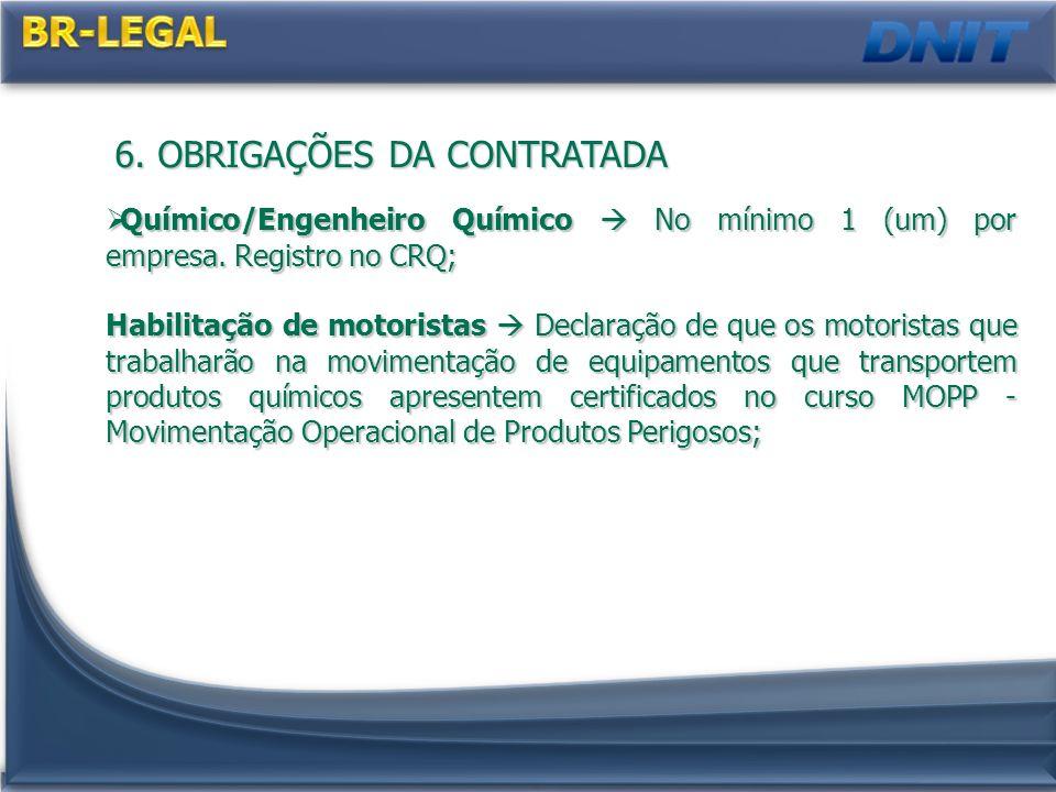 6.OBRIGAÇÕES DA CONTRATADA Químico/Engenheiro Químico No mínimo 1 (um) por empresa.