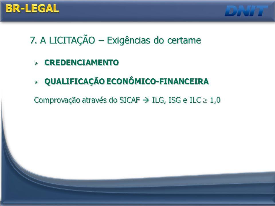 7. A LICITAÇÃO – Exigências do certame CREDENCIAMENTO CREDENCIAMENTO QUALIFICAÇÃO ECONÔMICO-FINANCEIRA QUALIFICAÇÃO ECONÔMICO-FINANCEIRA Comprovação a