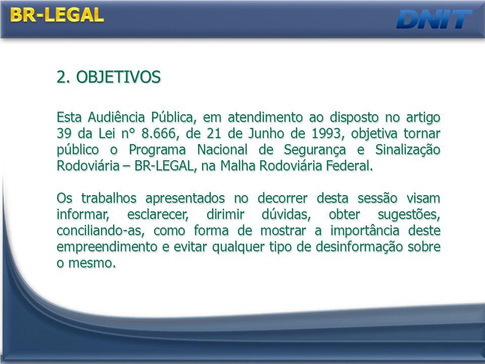 2. OBJETIVOS Esta Audiência Pública, em atendimento ao disposto no artigo 39 da Lei n° 8.666, de 21 de Junho de 1993, objetiva tornar público o Progra