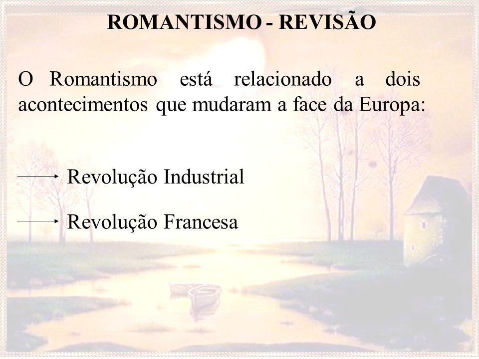 ROMANTISMO - REVISÃO O Romantismo está relacionado a dois acontecimentos que mudaram a face da Europa: Revolução Industrial Revolução Francesa