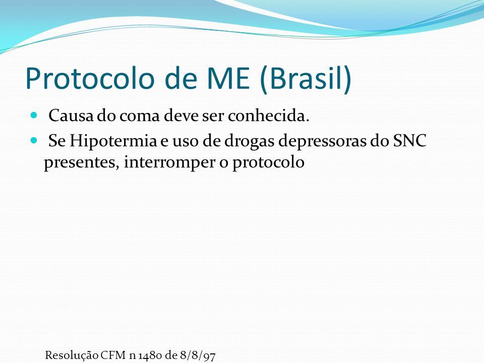 Protocolo de ME (Brasil) Causa do coma deve ser conhecida.