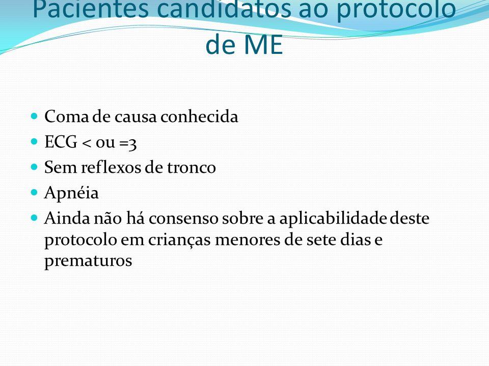 Pacientes candidatos ao protocolo de ME Coma de causa conhecida ECG < ou =3 Sem reflexos de tronco Apnéia Ainda não há consenso sobre a aplicabilidade deste protocolo em crianças menores de sete dias e prematuros